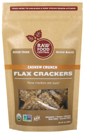 Raw Food Central  Organic Flax Crackers Cashew Crunch
