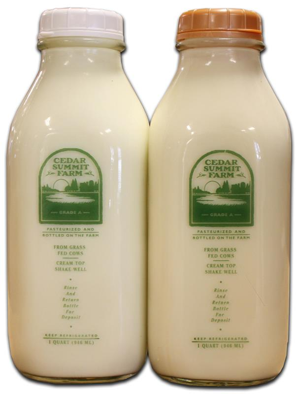 Cedar Summit Farm Grassfed Organic Whole Creamline Milk