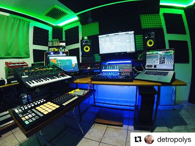 The #qconprox compliments this studio. What do you think? Repost from  @detropolys . #homestudio #makingmusic #ableton #synth#icon #qconprox #producer #music #creative #artistry