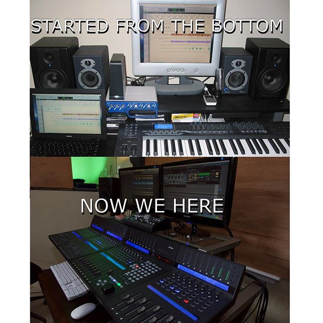 The evolution of our home studio! It looks so much more professional now which makes it a lot more fun to work with #homestudio #music #qconprox #iconproaudio #producer