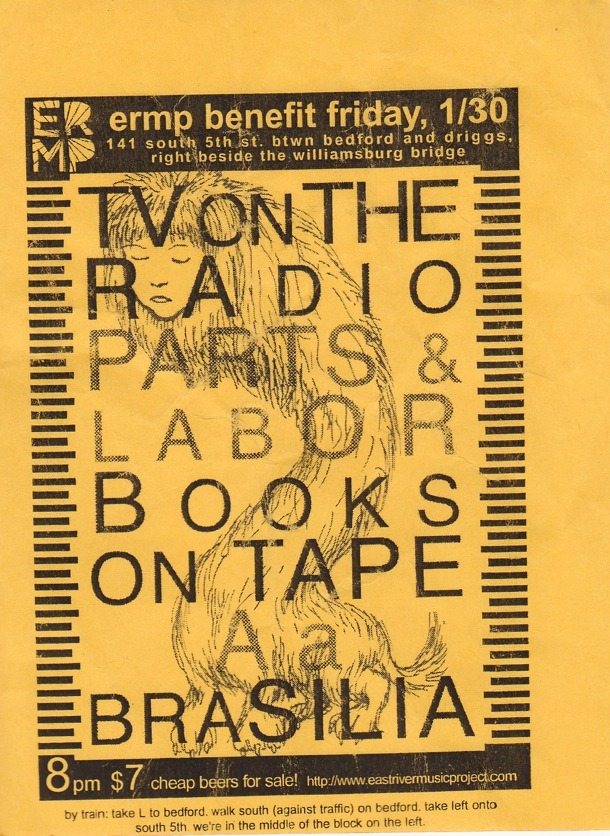 Yellow show poster with TV on the Radio, Parts and Labor, Books on Tape, Aa, and Brasilia