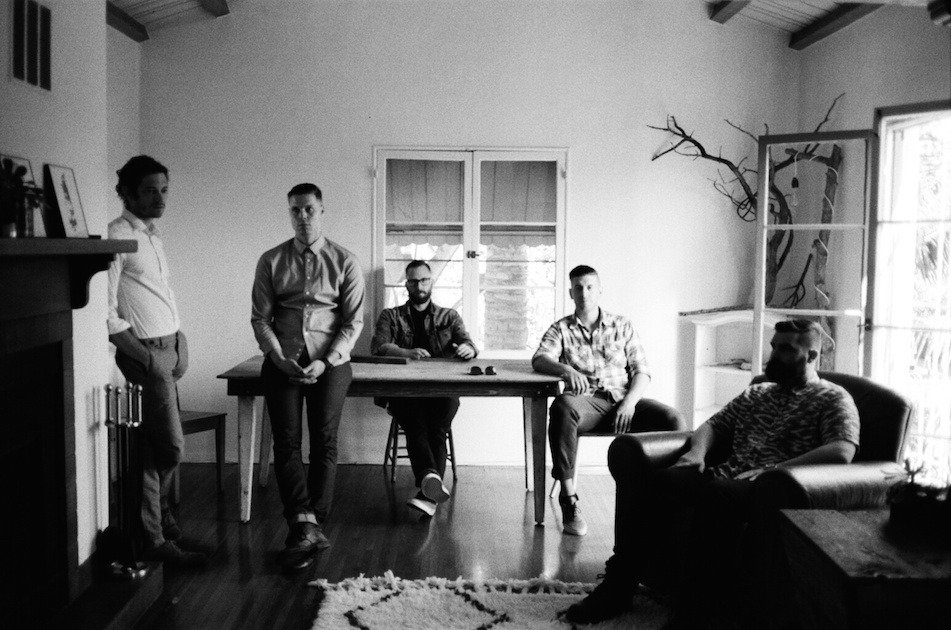 Black and white photos of band with synthesizers