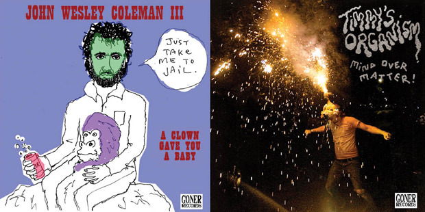 cover artwork for John Wesley Coleman III and Timmy's Organism split 7-inch