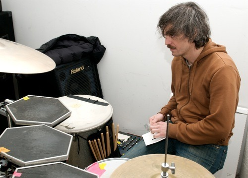 Jerry Fuchs, drummer of the Juan MacLean, !!!, and Maserati in practice space