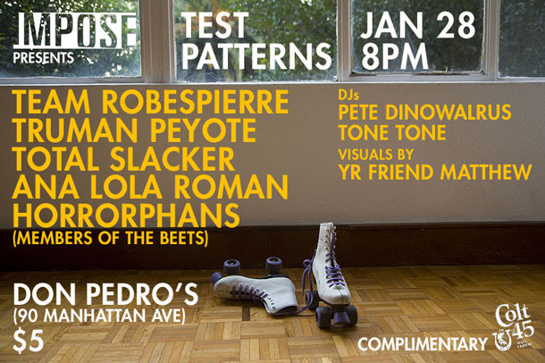 flyer for January 28th Impose Test Patterns party at Don Pedro's