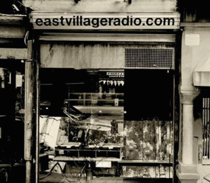 East Village Radio Storefront Grate Black and White