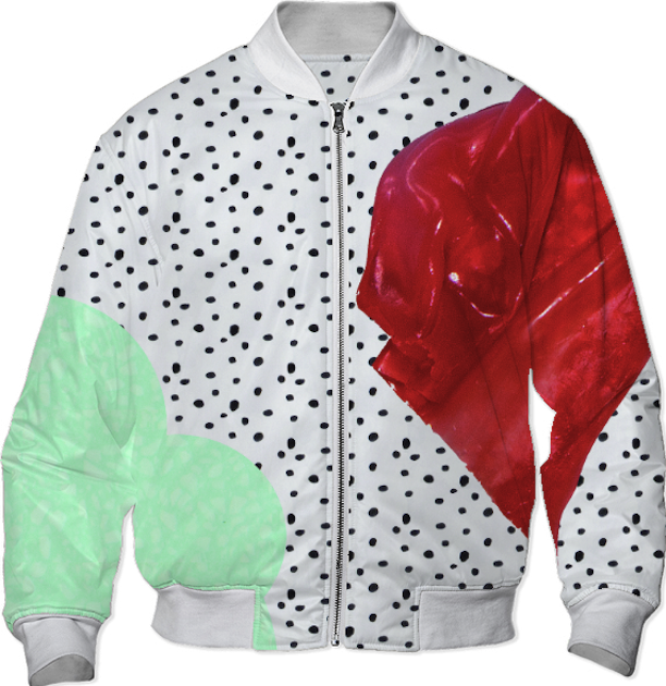polka dot bomber jacket with blue and red