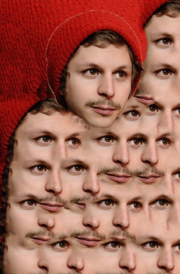 michael cera mirrored, red hat, brown mustache