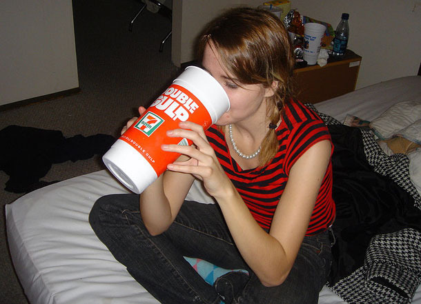 hot girl with a big gulp