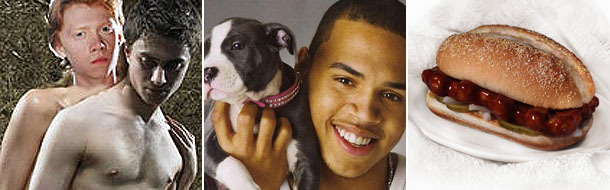 Chris Brown with pitbull, Harry Potter naked, McRib sandwich