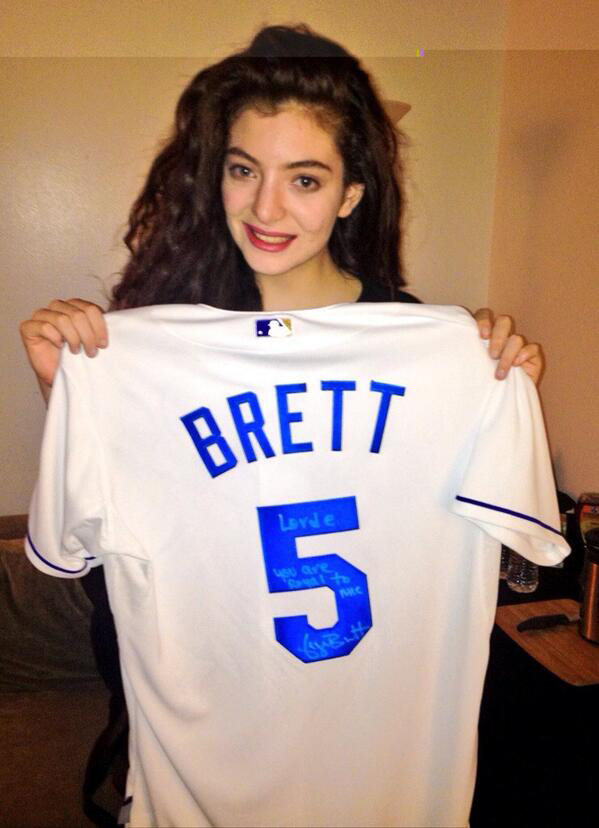 Lorde with George Brett jersey