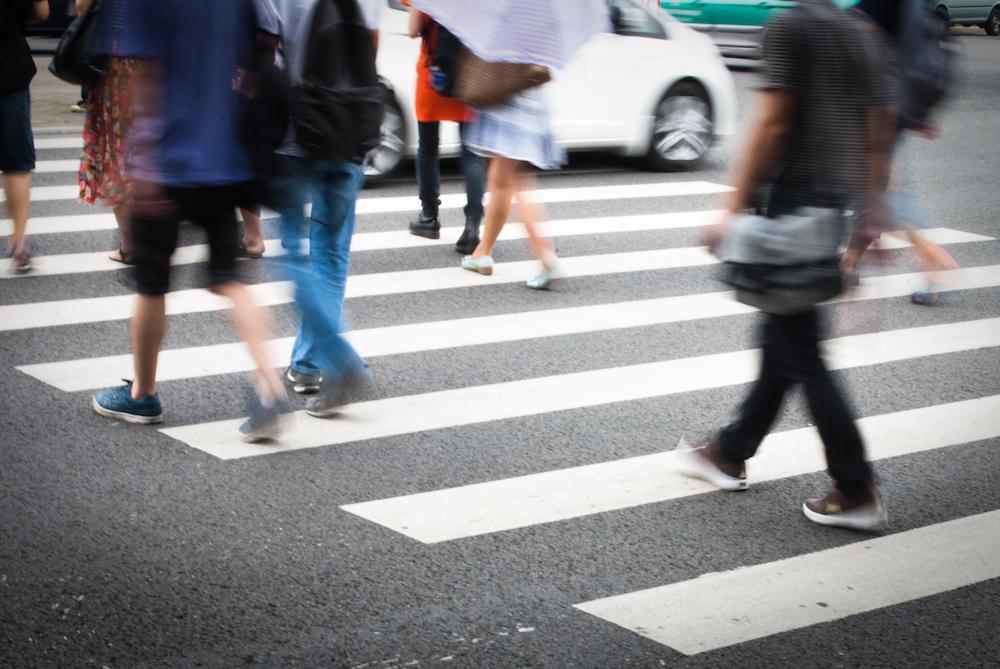 Pedestrian crossing city streets