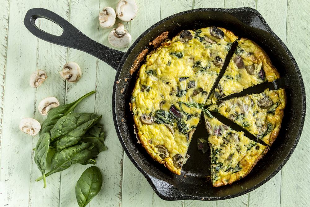 Spinach mushroom frittata breakfast brunch