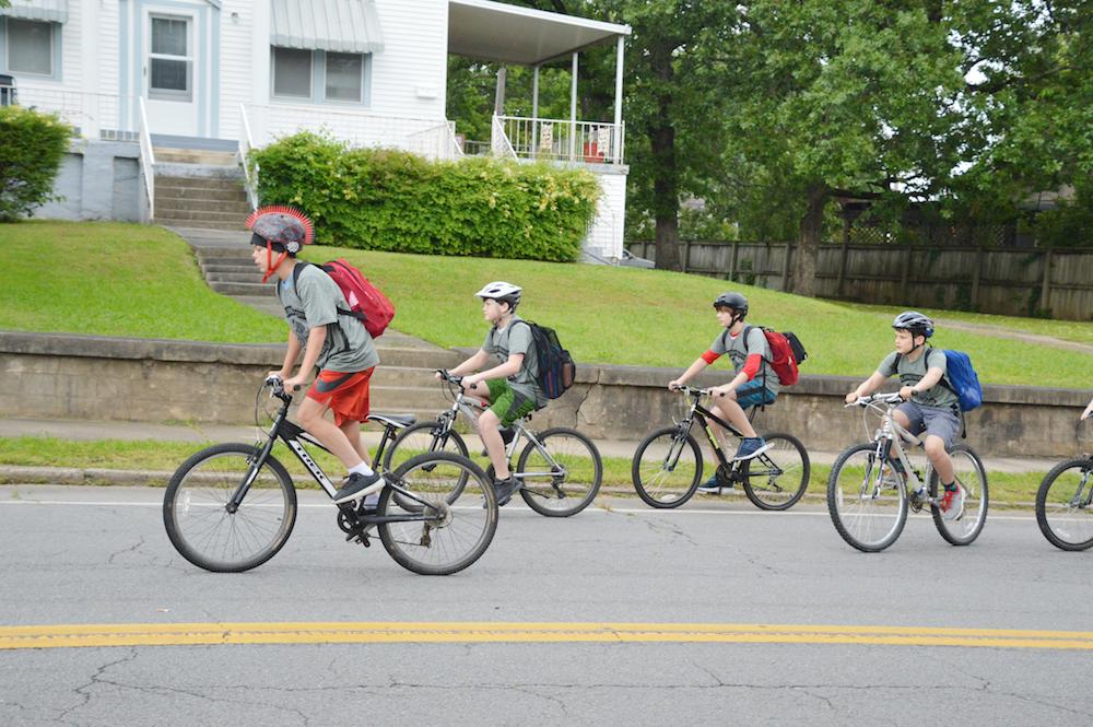 Kids biking in Little Rock