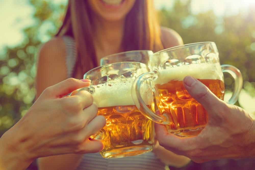 Drinking beer cheers