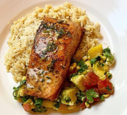 From Z to A: Herb Butter Poached Salmon, Garlic Parmesan Orzo & Basil Summer Salad Recipe