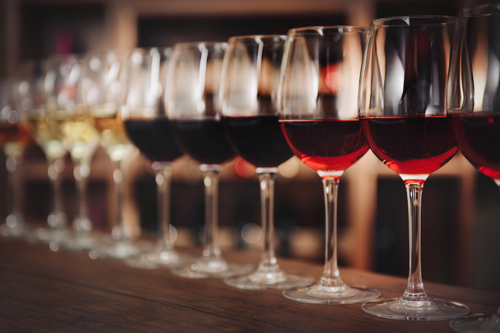 Wine gradient on bar