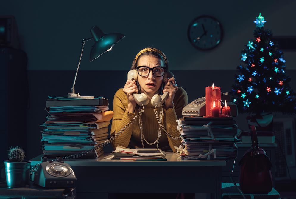 Woman working late on Christmas