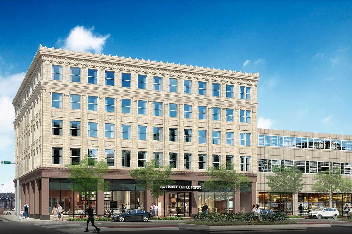 An artist's rendering of the AC Hotel Little Rock's exterior at 201 W. Capitol Ave.