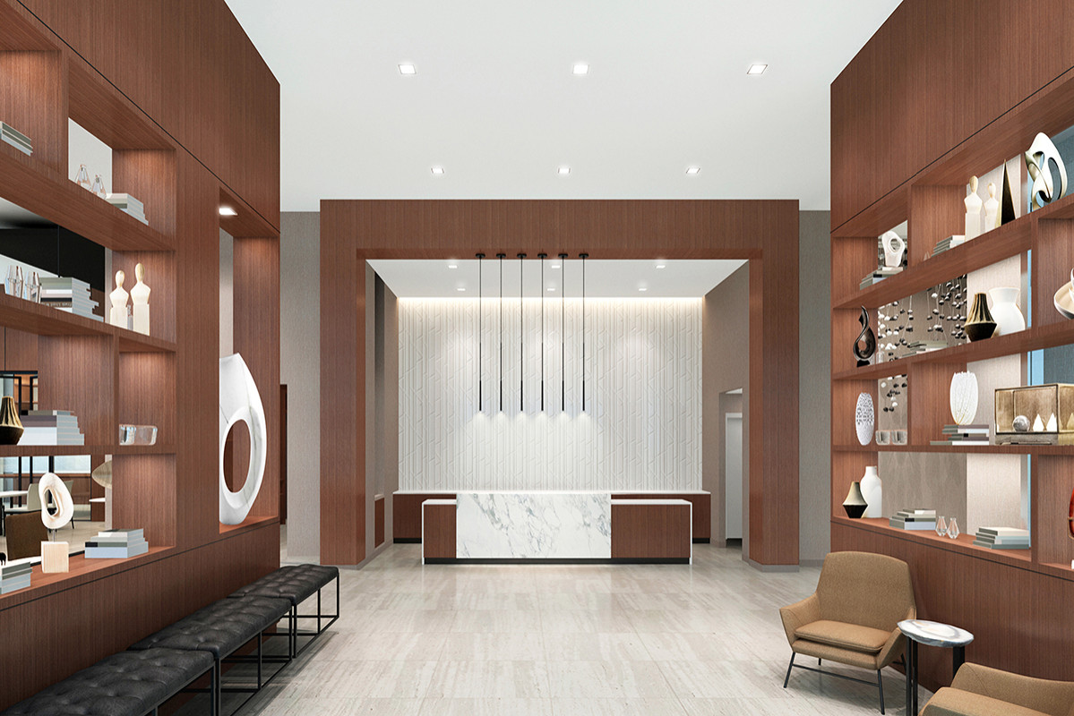 An artist's rendering of the AC Hotel Little Rock's lobby/reception area at 201 W. Capitol Ave.