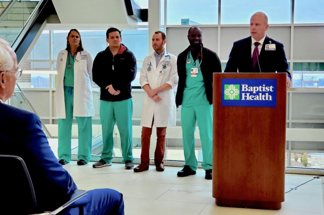 Baptist Health CEO Troy Wells speaks at the grand opening event on Monday.
