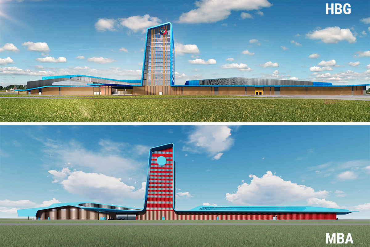 Saracen Casino Resort's renderings by Marlon Blackwell Architects of Fayetteville are at the bottom. Saracen Development released HBG Design's images, at top, in a news release in December. Blackwell's  images were provided by MBA's attorney, Mark Henry of Fayetteville.