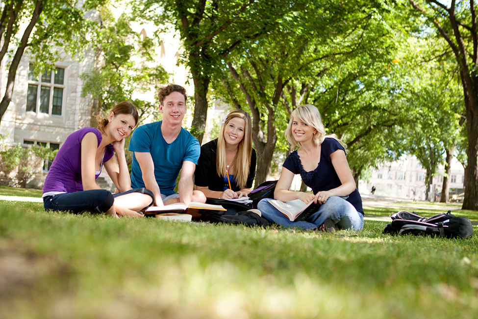 Shutterstock college students sit lawn 131210