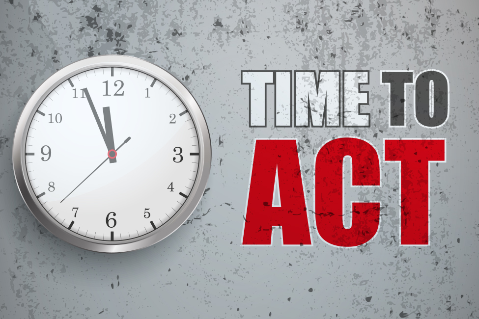 Shutterstock illustration time to act test clock