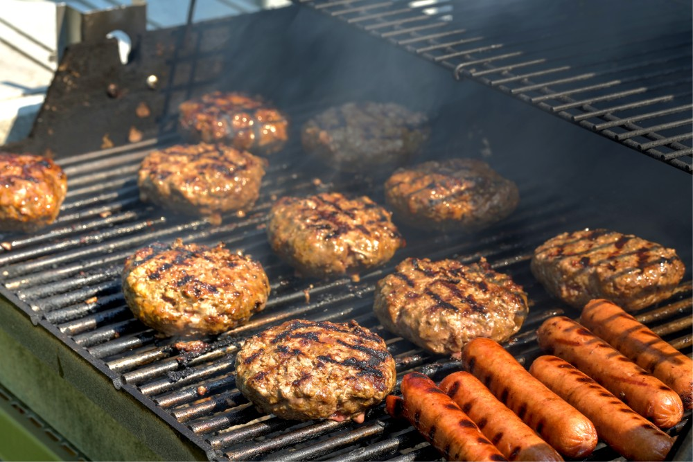 Grilling out burgers hot dogs