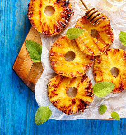 Grilled Pineapple with Honey Yogurt Drizzle