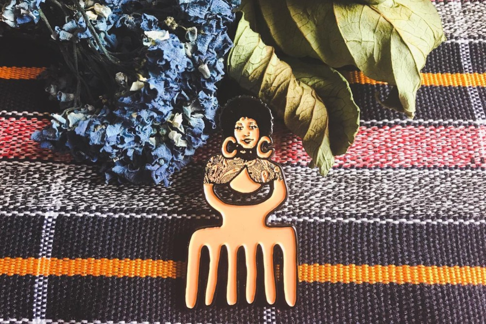 Mercer Textile Mercantile Duafe Enamel Pin by Crystal C. Mercer
