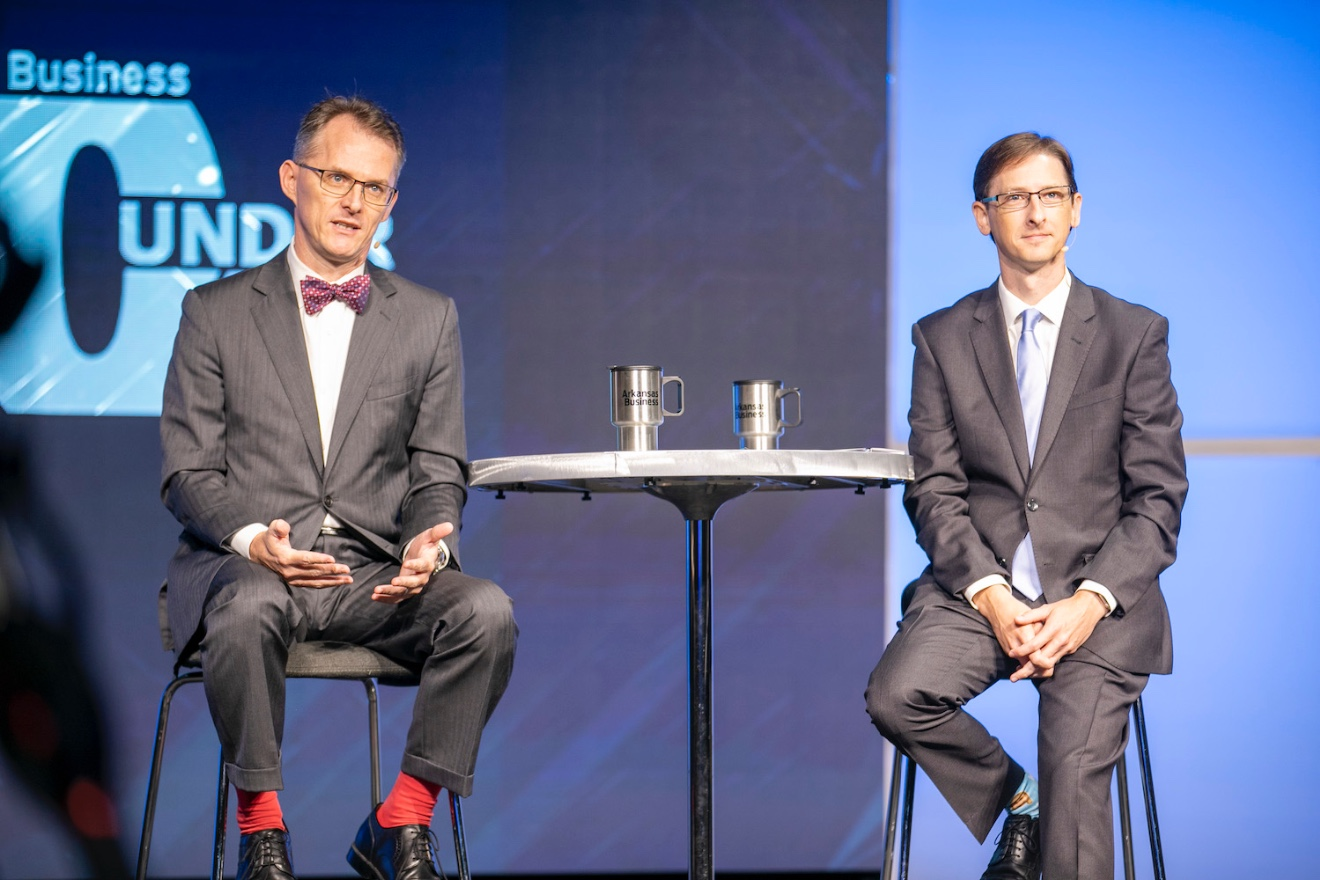 Arkansas Business Publisher Mitch Bettis (left) and Online Editor Lance Turner host the 40 Under 40 event.