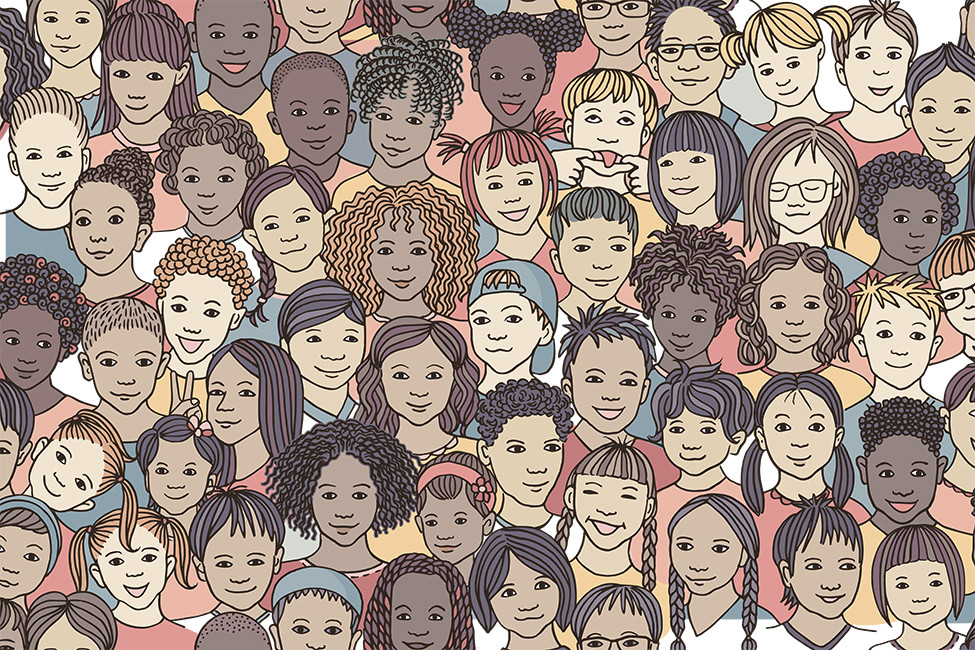 LRF 132521 many different children faces race illustration