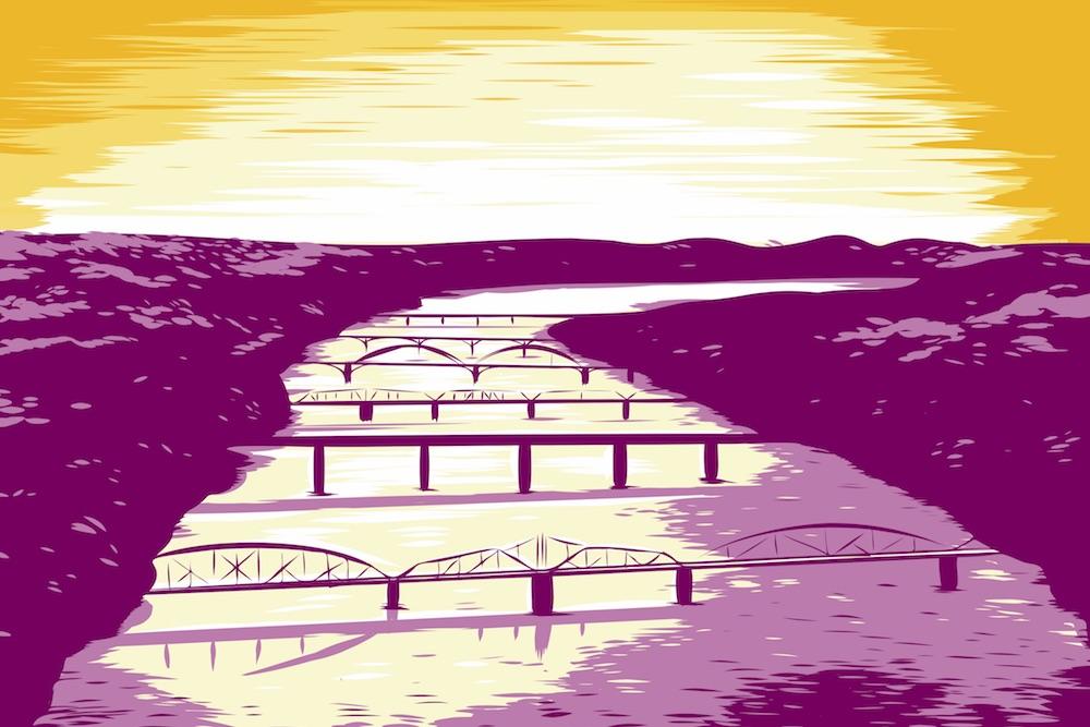 Six Bridges Book Festival 2020 poster art