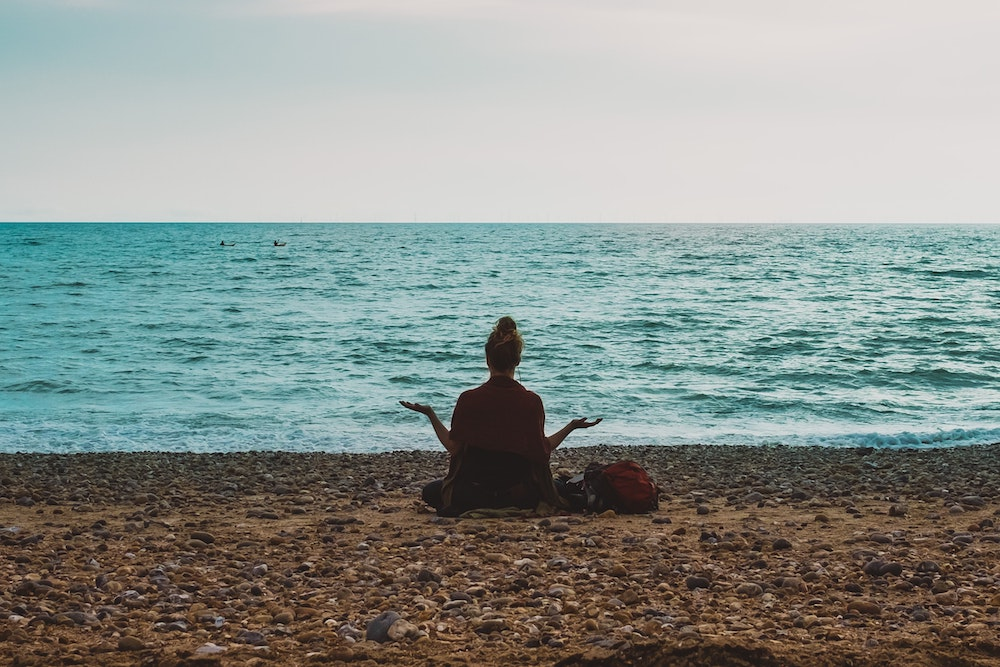 Meditation on the beach, seaside