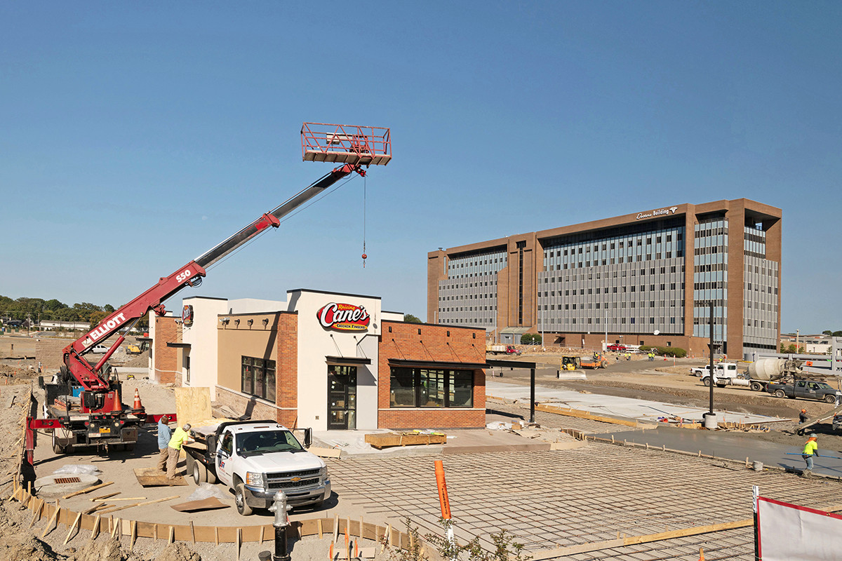 Raising Cane's Chicken Fingers is the first project to come out of the ground for The District at Midtown.
