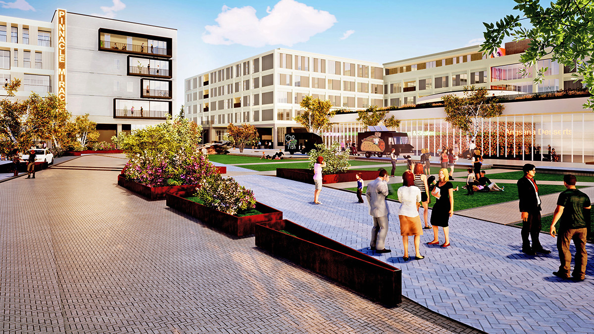 Renderings of the Rogers project show a mix of hotel, apartment, retail, office and residential construction to follow in the coming months.