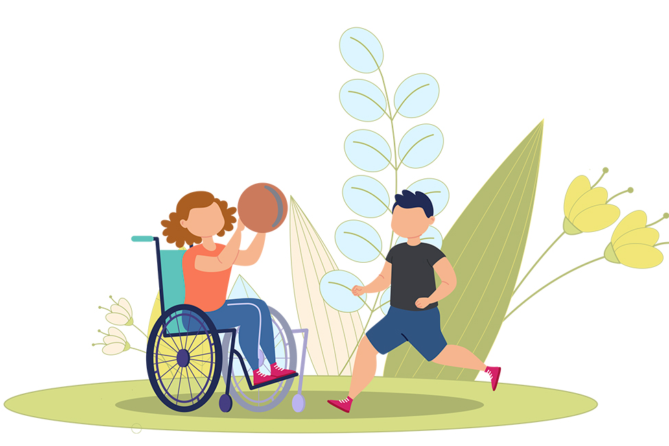Special Needs Inclusive Playground wheelchair basketball shtsk illustration