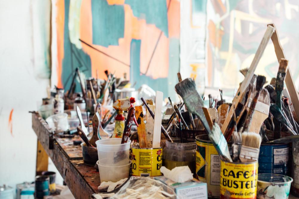 Artist studio, art supplies, paint brushes