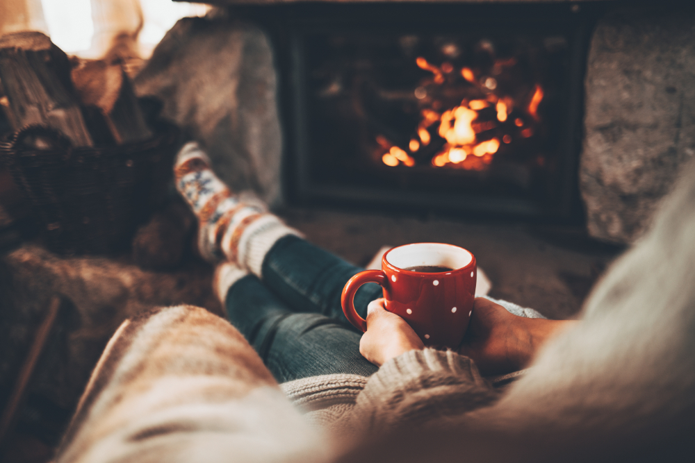 Relax, cozy, fireplace, winter