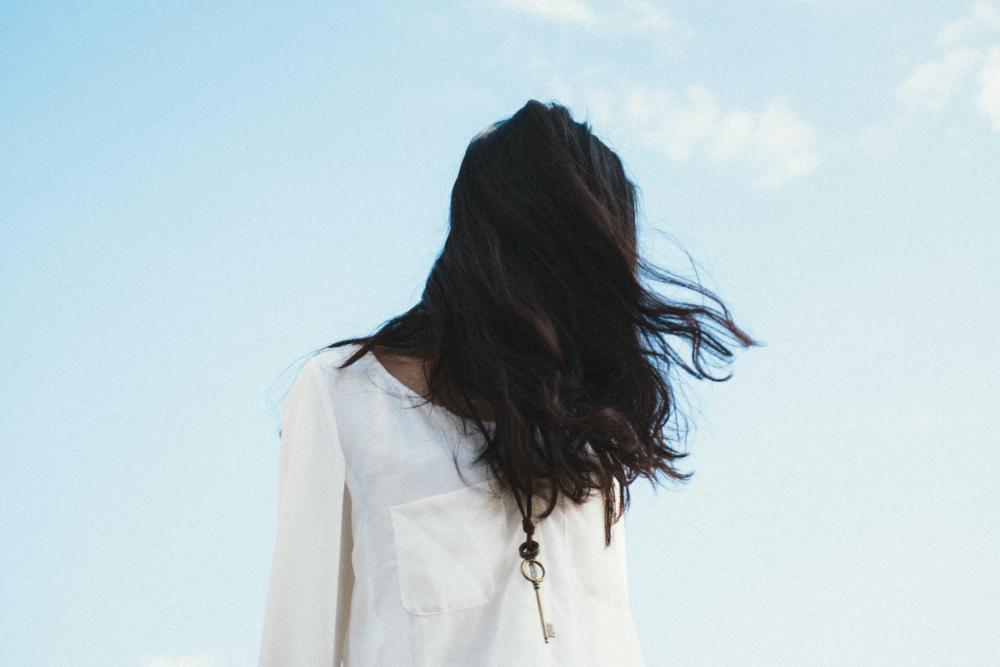Woman outdoors hair