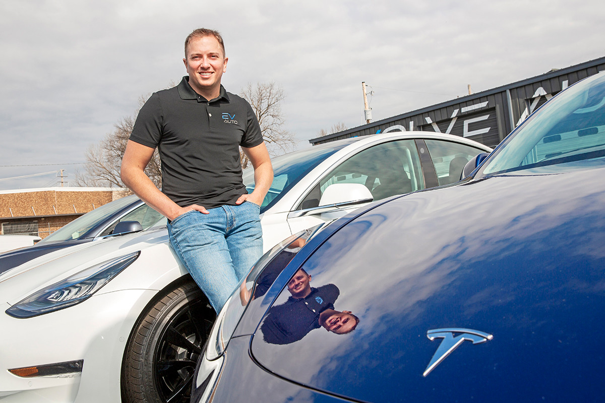 Collin Riggin is founder of Evolve Auto in North Little Rock, an EV dealership that has  sold a stake to Seal Solar.