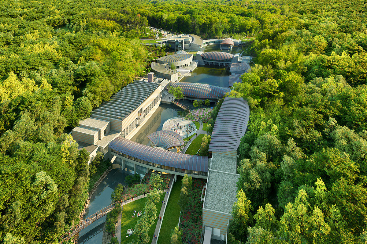 An artist's rendering of the proposed expansion of Crystal Bridges, looking south