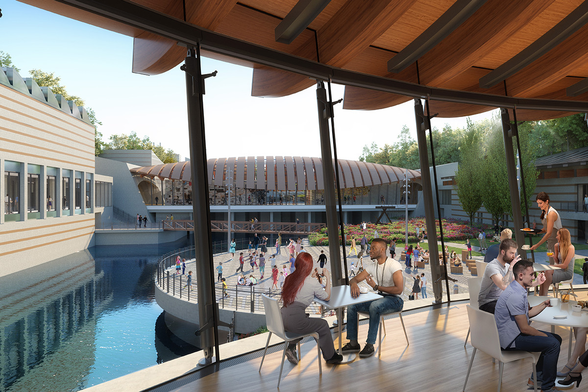 An artist's rendering of the view from the Crystal Bridges cafe onto a new event plaza.