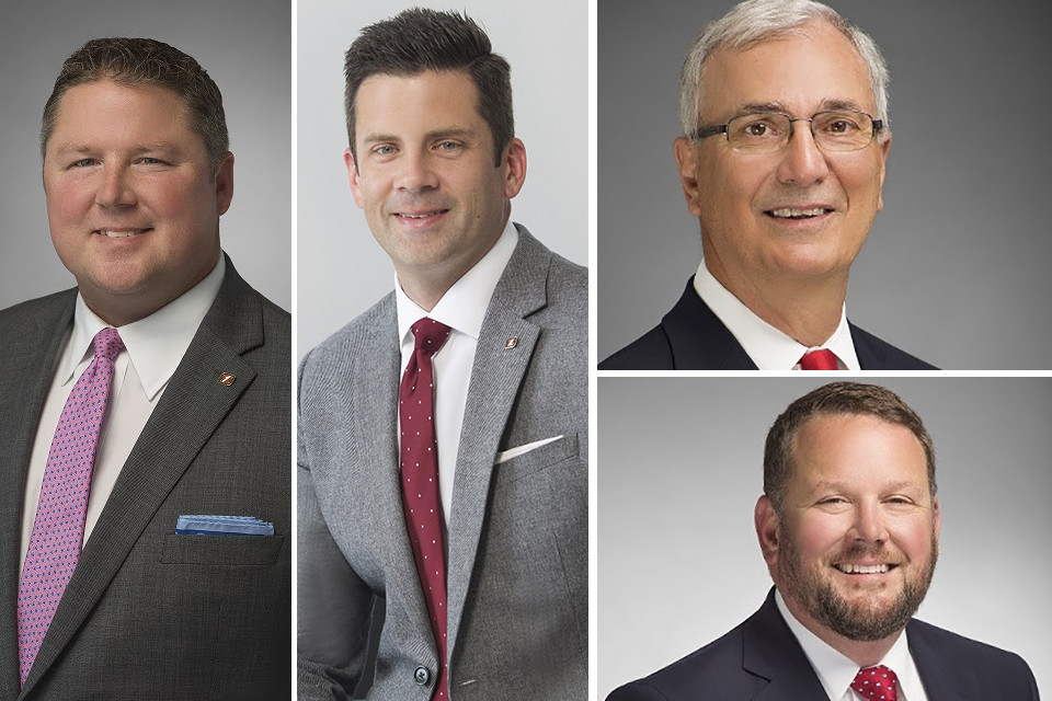Clockwise from left: Paul Lowe, David Stogsdill, Freddie Black and Chad Rawls of Simmons Bank