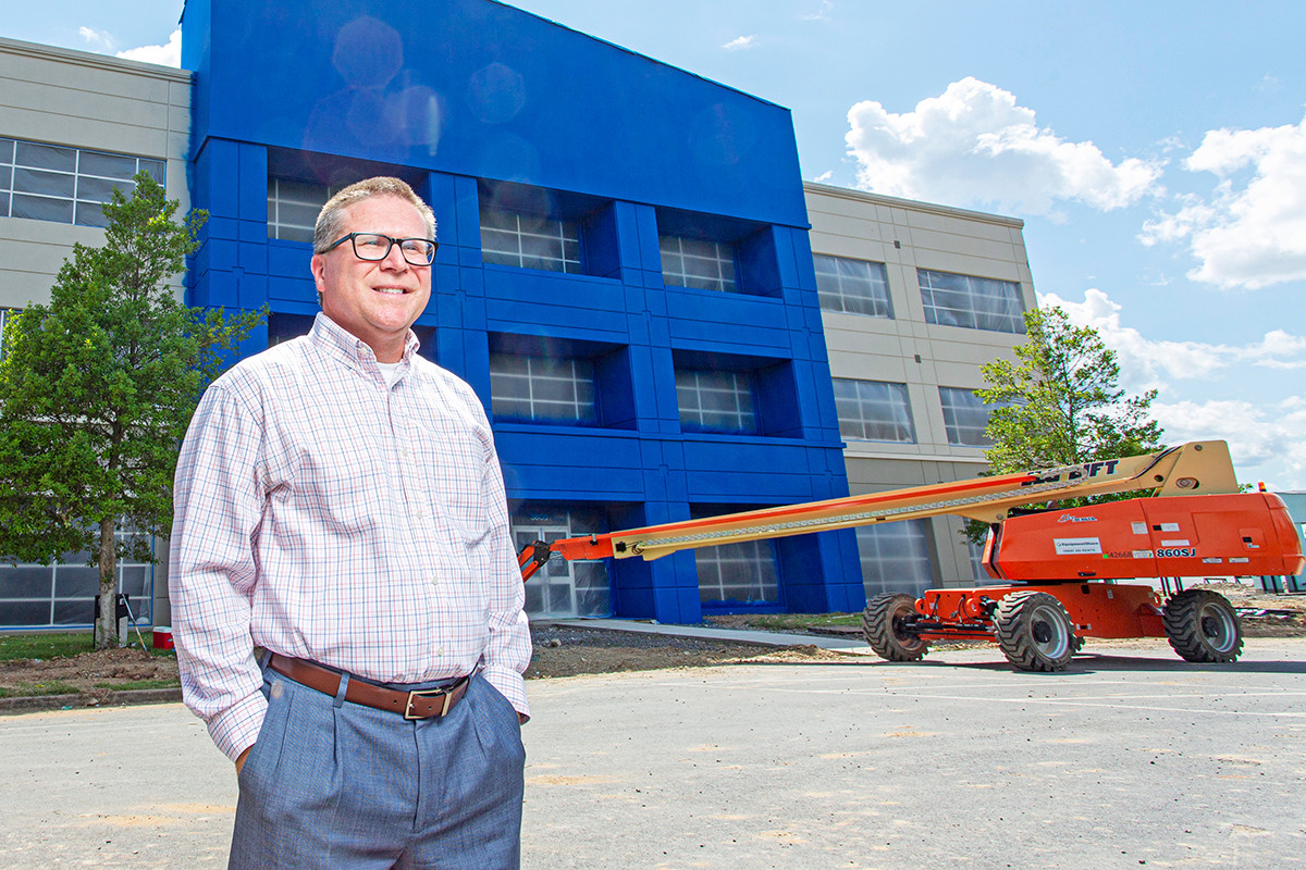 Rodney Showmar, president and CEO of Arkansas Federal Credit Union, outside the lender's work-in-progress headquarters in west Little Rock.