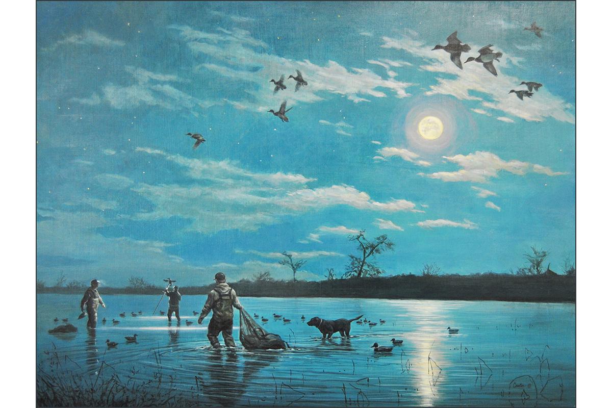 pre dawn duck hunting painting calvin carter full moon