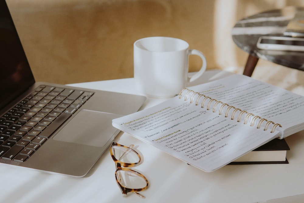 desk, coffee, notebook, journal, laptop, work from home, wfh