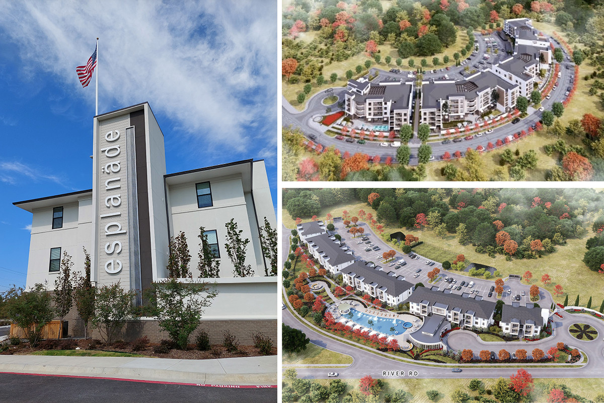 Blake Jackson announced plans for a new 167-unit phase of apartments, seen in the top right, at the Esplanade District in North Little Rock. Phase 1 can be seen in the bottom right.