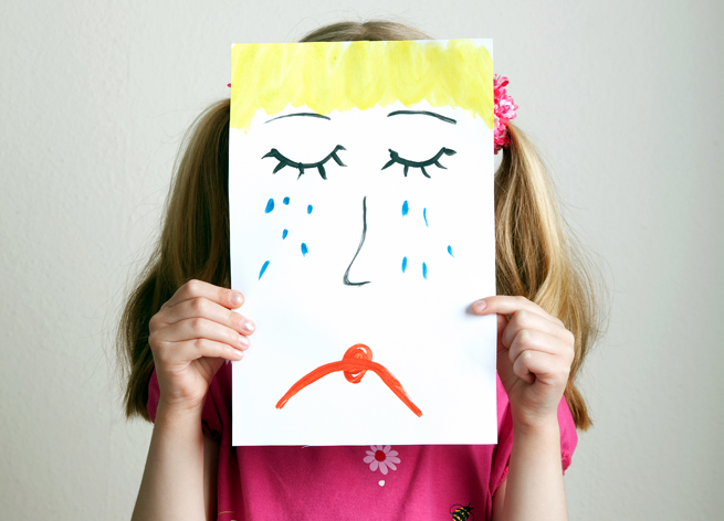 Heartsick Kid Girl Holding Paper Drawing Face
